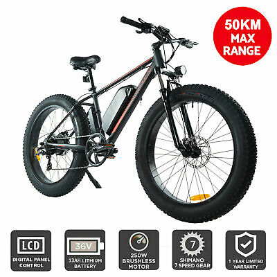 AU1234.95 • Buy  Electric Bike EBike Shimano 7 Speed Mountain Bicycle Lithium Battery Fat-Tyres