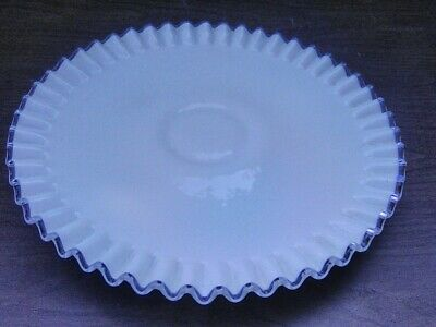 $55 • Buy Fenton Glass White Silver Crest Low Footed Ribbed Cake Plate / Server 12
