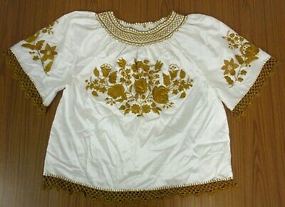 £20 • Buy Vintage White Gold Embroidered Boho Hippy Peasant Crochet Summer Blouse Top 16