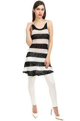 £0.99 • Buy DONDUP Jumper Dress Size M Alpaca & Wool Blend Two Tone Striped Made In Italy