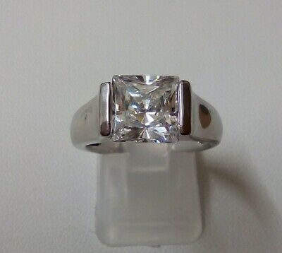 £14.50 • Buy QVC Diamonique 3ct Princess Cut Solitaire Solid Sterling Silver Ring Size N 5.4g