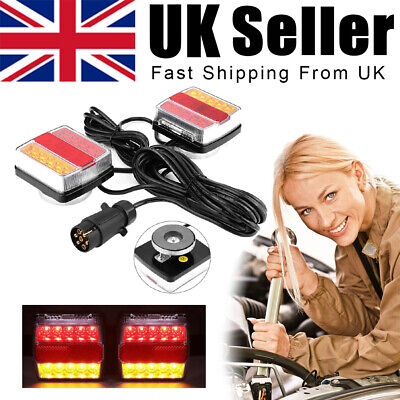 £24.99 • Buy 2PCS 12V 7.5m Cable Trailer Towing Lights Board Light Rear Tail  Lamps Car Van