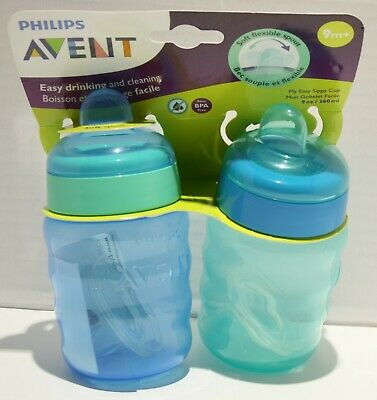 £8.27 • Buy Philips Avent My Easy Sippy Cup Flexible Spout 9oz 9m+ Blue/Green 2pk