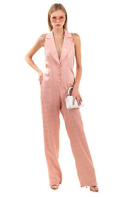 AU3.77 • Buy RRP€1210 OFF-WHITE Satin Jumpsuit Size 40 / S Logo Pattern V Neck Made In Italy