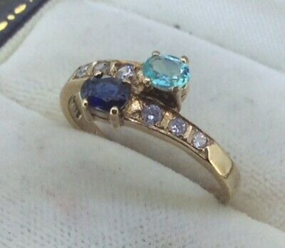 £99.99 • Buy Stunning 9k 9ct Yellow Gold Natural Sapphire Ladies Crossover Ring Size L 1/2