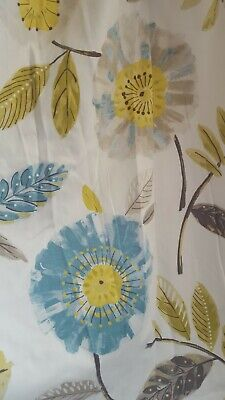 £59 • Buy Tape Top Floral Window Curtains 85 X 71 Montgomery Blue Yellow Brown Retro Bold
