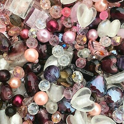 £3.99 • Buy Mixed Glass Bead Packs - 2 Sizes Available - Pink, Burgandy, Purple And Clear