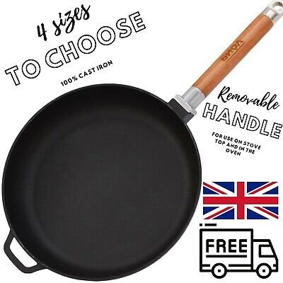 £23.75 • Buy Cast Iron Frying Pan Skillet 22-28 Cm Removable Handle Works Also With Induction