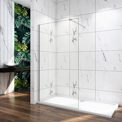 £95.48 • Buy Walk In Wet Room Shower Enclosure Easy Clean Glass Bath Screen Panel Stone Tray