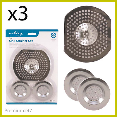 £2.49 • Buy 3 X LARGE Stainless Strainer Sink Bath Plug Hole Basin Hair Trap Drainer Cover