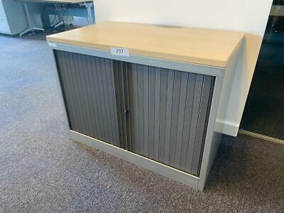 £96 • Buy Bisley Steel Silver Desk High 730mmh X 1000mmw X 470mm Tambour Fronted Cupboard