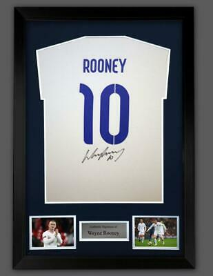 £135 • Buy WAYNE ROONEY Framed England T-Shirt Signed At Private Signing Session W/COA
