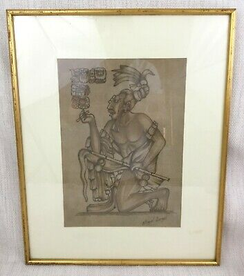£140 • Buy Original South American Leather Folk Art Pyrography Aztec Mayan Warrior Picture