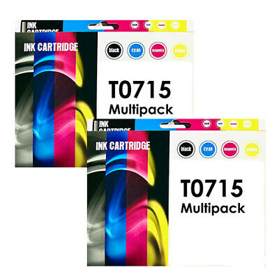 £13.35 • Buy 2x T0715 Multipack 4 Ink Cartridge Sets For EPSON Stylus DX7450 DX8450 Non-OEM