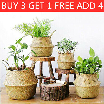 £7.49 • Buy Seagrass Basket Belly Flower Plant Woven Wicker Pot Home Laundry Decor-E Storage