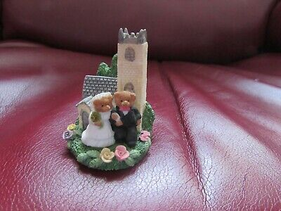 £7 • Buy Decorative Teddy Bear Wedding Couple Figures Cake Topper With Church Background