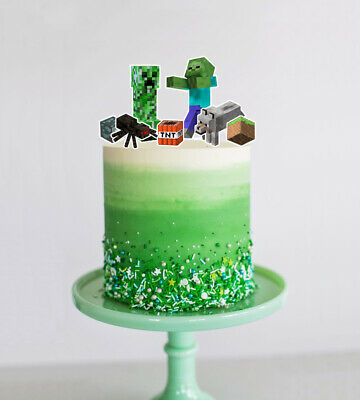 AU13.99 • Buy Zombie, Creeper + Characters - Set Of Mine Cake Toppers Craft