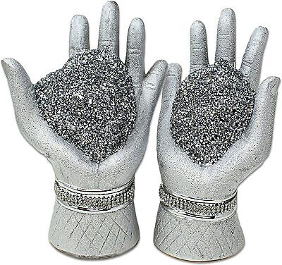 £12.99 • Buy Crushed Diamond Shiny Silver Pair Of Hands With Heart Ceramic Ornament