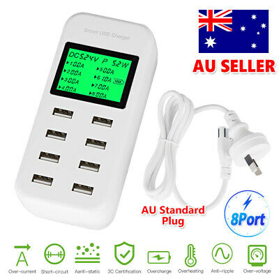 AU26.85 • Buy  8 Port USB Hub Charging Station AC Power Adapter Multi Dock Phone Charger 40W