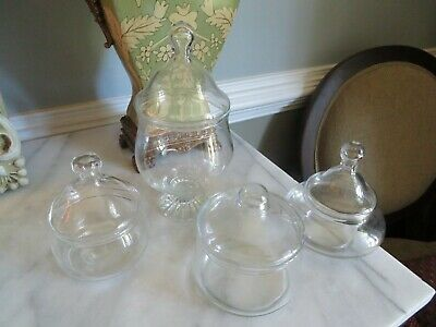 £29.04 • Buy Vintage Lot 4  Apothecary Style Candy Wedding Buffet Glass Storage Jars W/ Lids