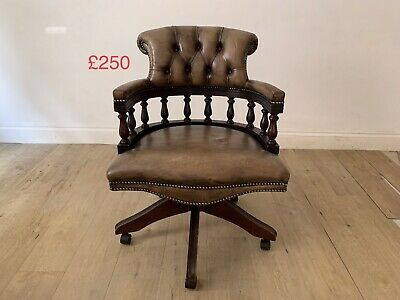 £250 • Buy Vintage Chesterfield Captains Chair Hillcrest Tilt And Raise Tanned Leather