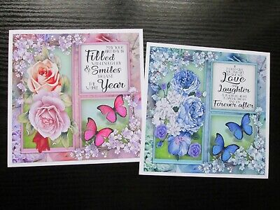 £1.25 • Buy NEW === 2 X FLOWERS / BUTTERFLYS WITH VERSE Card Toppers & Sentiments