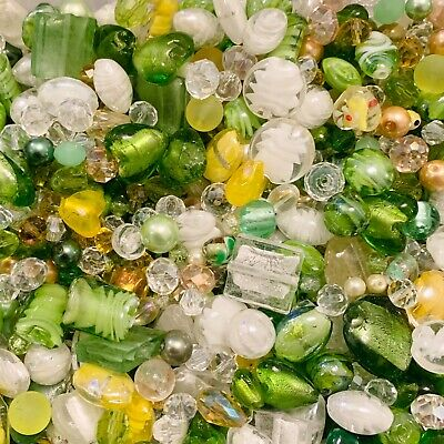 £3.99 • Buy Mixed Glass Bead Packs - 2 Sizes Available - Green, Yellow & Clear Mix