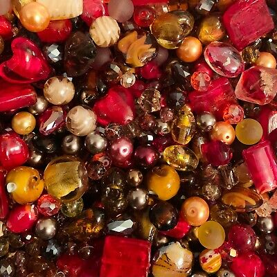 £3.99 • Buy Mixed Glass Bead Packs - 2 Sizes Available - Autumn Mix