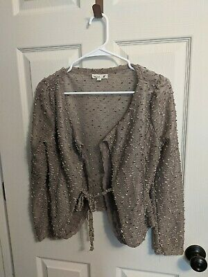 £7.27 • Buy Mine Long Sleeve Shrug Sheer Taupe Lace Size L