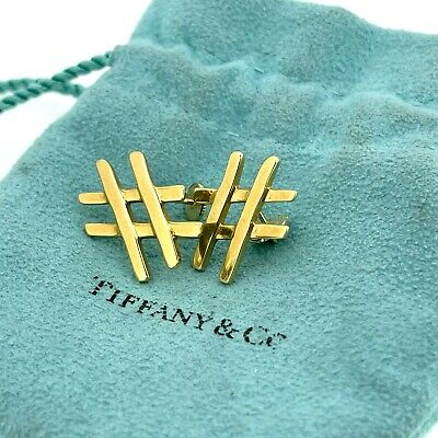 £436.42 • Buy Tiffany & Co. Paloma Picasso Hashtag # Number Symbol 18k Yellow Gold Earrings