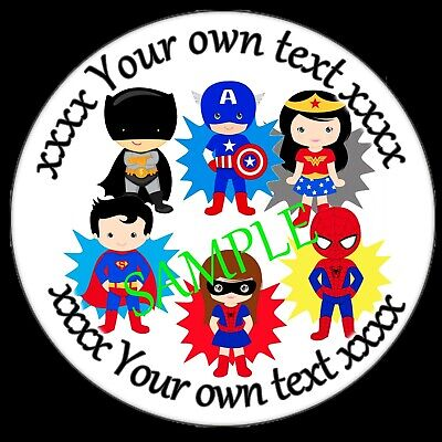 £2.50 • Buy Personalised Stickers For Superheroes Theme Birthday Party Sweet Cone Labels