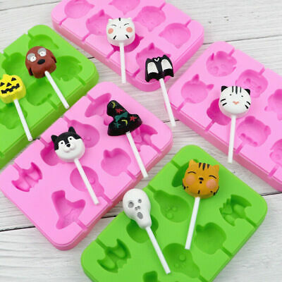 £3.79 • Buy Silicone Halloween Dog Cat Lollipop Chocolate Mould Candy Lolly Mold + 20 Sticks