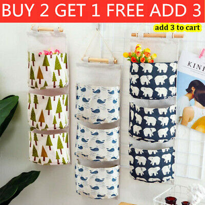 £5.49 • Buy 3 Pockets Wall Hanging Storage Bag Toy Cosmetic Organizer Pouch Home Closet Door