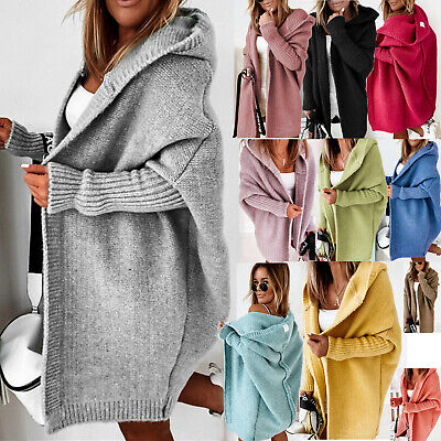 £25.99 • Buy Womens Knitted Cardigan Chunky Hooded Open Front Sweater Coat Winter Oversized