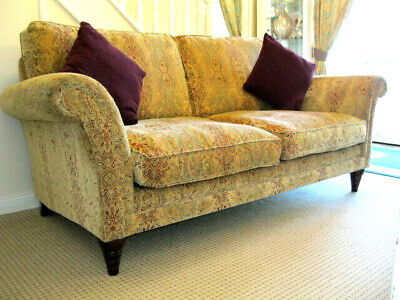 £750 • Buy Parker Knoll Burghley Large 2 Seater Sofa In Baslow Medallion Gold Fabric.