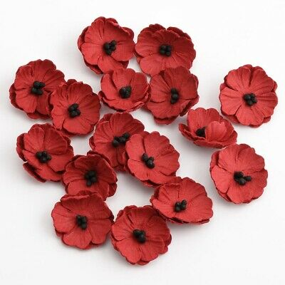 £4.65 • Buy Handcrafted Poppy Floral Decorations - Handmade Card Making Embellishment Crafts