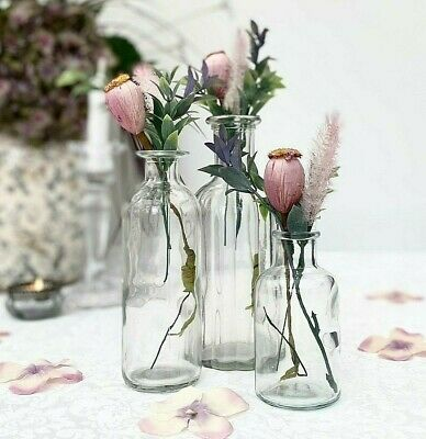 £11.99 • Buy Set Of 3 Small Bud Vases - Clear Glass Bottles For Wedding Décor Centrepiece