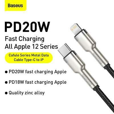 AU15.95 • Buy Baseus USB Type-C To IP PD IPhone IPad Metal Series 20W Fast Cable 1m BLK
