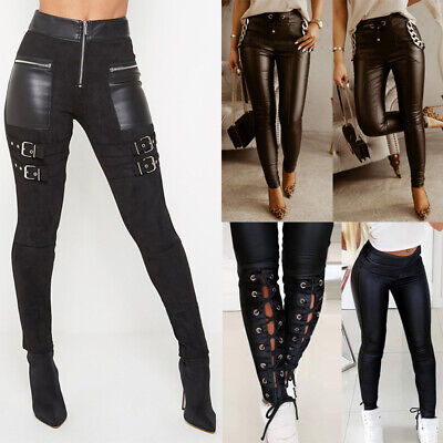 £6.09 • Buy Womens Faux Leather Leggings Gothic Steampunk Wet Look Skinny Pants Trousers