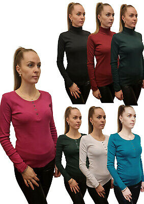 £7.99 • Buy 3 PACK Ladies T-Shirt Top Long Sleeve Stretch Or Loose Fit 100% Cotton RRP £20