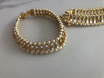 £8.97 • Buy Anklets / Payal Gold Plating White Stones Bordered Pearls. Costume Jewellery
