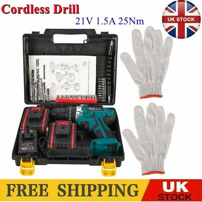 £34.95 • Buy 21V Cordless Hammer Drill Set Electric Impact Driver Screwdriver With 2 Battery