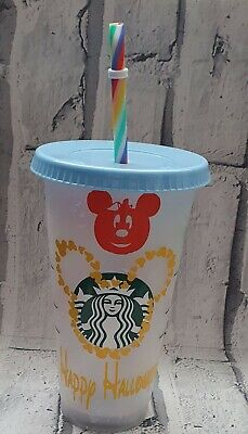 £10.50 • Buy Personalised Disney Halloween Starbucks Cold Cup Boo To You Rainbow Straw Mickey