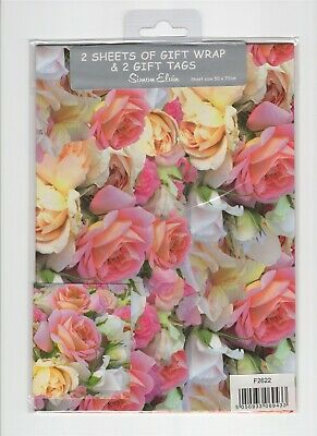 £2.59 • Buy Roses Flowers WRAPPING PAPER 2 SHEETS AND 2 GIFT TAGS GIFT WRAP Simon Elvin