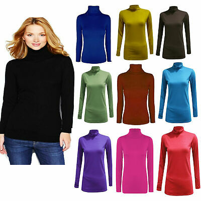 £4.99 • Buy Womens Ladies Polo Neck Top Stretch Long Sleeve Turtle Neck Top Jumper 8-26