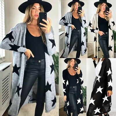 £21.95 • Buy Ladies Women's Knitted Star Print Oversized Open Front Long Winter Cardigan 8-16