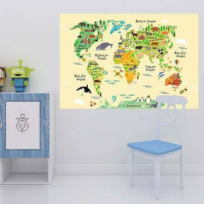 £11.29 • Buy Kids Educational Decowall World Map Wall Stickers Stick & Peel  Room Decoration.