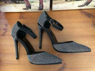 £12.99 • Buy LADIES HIGH HEEL GLITTER DIAMANTE ANKLE STRAP POINTED TOE SHOES Black Size 7