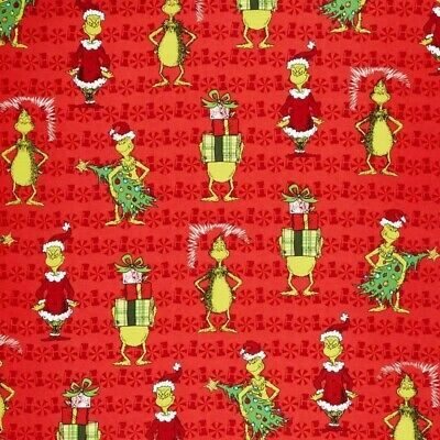 £7.95 • Buy Grinch Fabric Fat Quarter Cotton Craft Quilting How The Grinch Stole Christmas