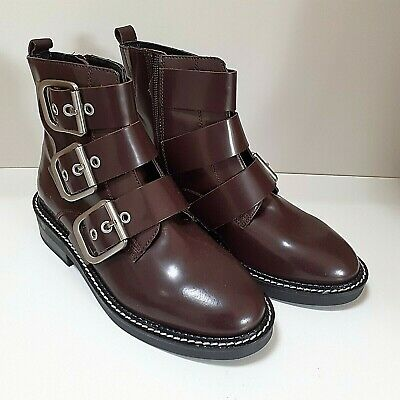 £23.99 • Buy M&S Leather Uppers Burgundy Buckle Ankle Boots Zip Standard Fit Size 4 5 5.5
